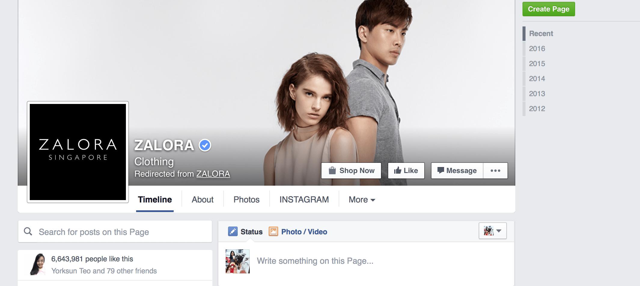 Zalora Facebook online presence